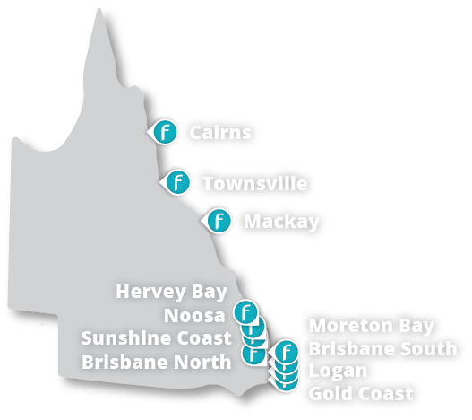 Map of Fluid hubs across Queensland