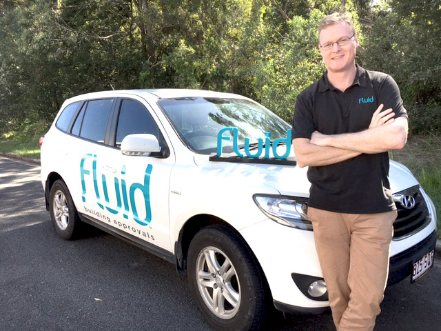 A picture of Hub Manager Richard Jones with our Fluid car