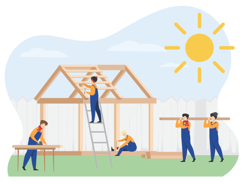 Image of construction of shed in backyard