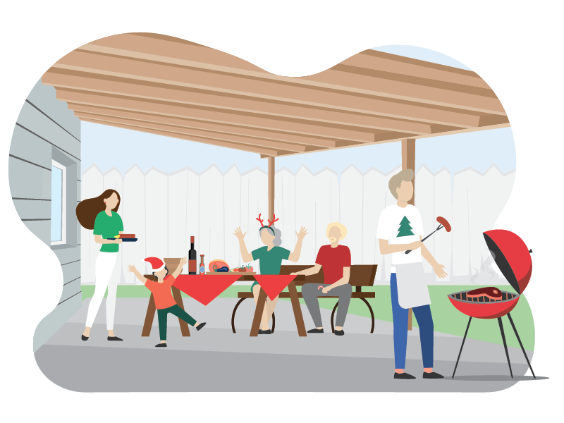 Image of family having christmas barbecue under new patio