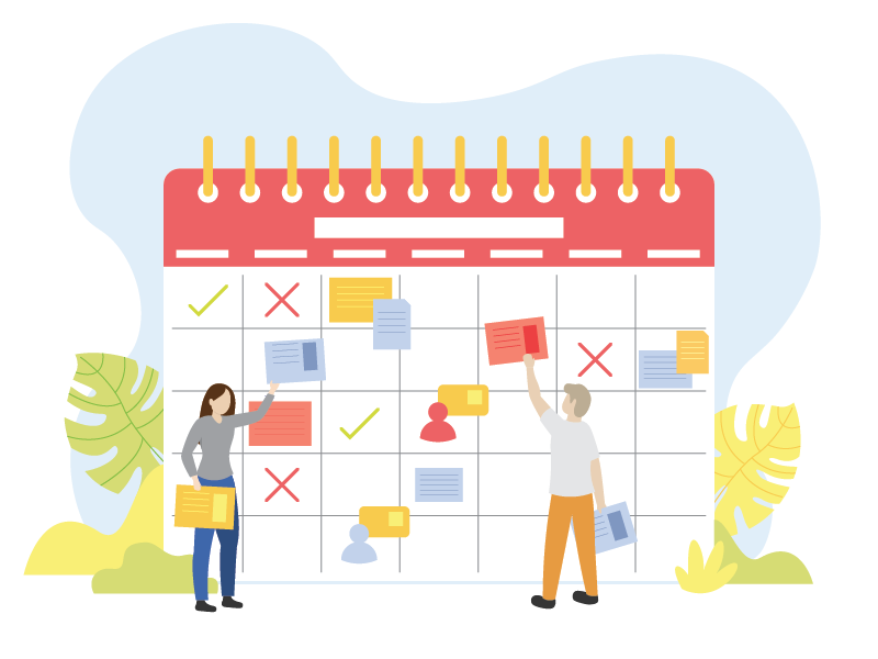 Image of couple making plans on calendar